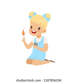 Little girl playing with matches, kid in dangerous situation vector Illustration on a white background