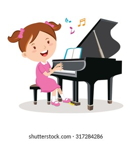 Little girl playing piano. Vector illustration of a cheerful girl playing piano.