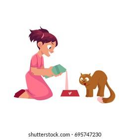 Little girl pouring milk into bowl for her cat, feeding her kitten, cartoon vector illustration isolated on white background. Cartoon girl feeding her cat, pouring milk into bowl sitting on the floor