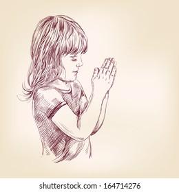 little girl praying hand drawn vector llustration realistic sketch