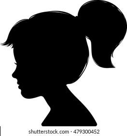 Little Girl Profile Silhouette - Vector Illustration