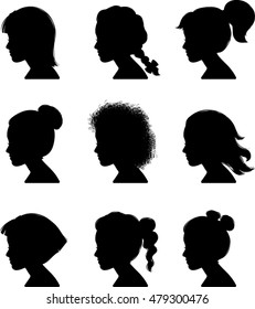 Little Girl Profile Silhouettes - Vector Illustration