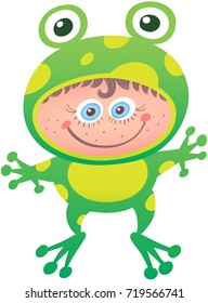 Little girl proudly smiling and posing while wearing a frog costume. The costume has big eyes, yellow spots, long legs and the open mouth leaves space for the girl's face