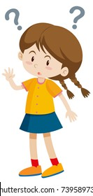 Little girl with question marks  illustration