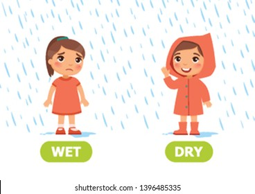 Little girl in a raincoat and without a raincoat in the rain. Illustration of opposites dry and wet. Card for teaching aid, for a foreign language learning. Vector illustration on white background