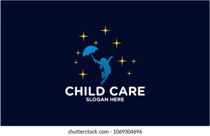 Little girl Reach Star Silhouette Logo Template Vector