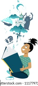 Little girl reading a book, imaginary fantastic images hovering over it, EPS 8 vector illustration, no transparencies