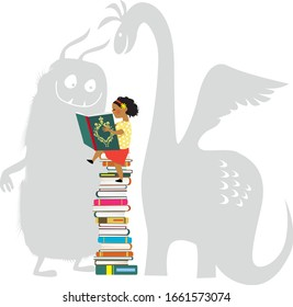 Little girl reading a book, imaginary monsters looking over her shoulder, EPS 8 vector illustration