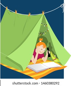 Little girl reading with a flashlight in a blanket fort, shadow shows pirate ship, EPS 8 vector illustration