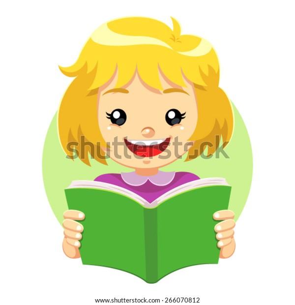 Little Girl Reading Green Book A Stock Vector Royalty Free