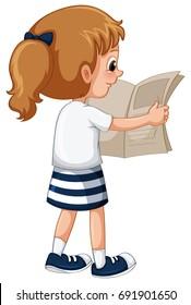 Little girl reading newspaper illustration