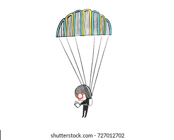 Little girl reading in a parachute made with books. Hand drawn vector illustration.