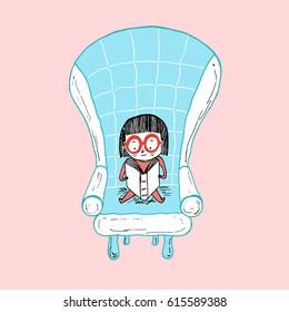 Little girl reading sitting on a sofa. Hand drawn vector illustration