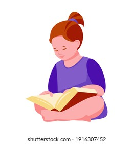 Little girl reads a book sitting on the floor. Vector illustration in flat cartoon style. Isolated on a white background.