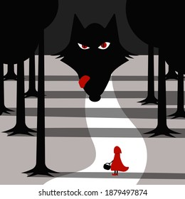 Little girl in red cloak and wolf waiting for her in forest. vector illustration.