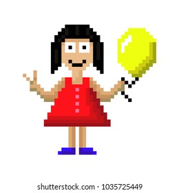 Little girl in a red dress with a balloon in her hand. Isolated on white background. Vector illustration. Pixels.
