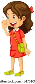 Little girl in red dress shouting illustration