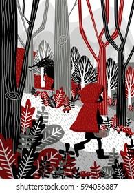 Little Girl in Red Hood Walking in Forest Fairy Tale Illustration