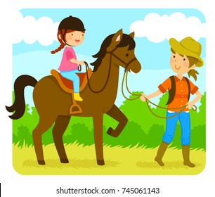 little girl riding a horse with an instructor