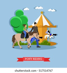 Little girl riding pony with instructor in amusement park near children carousel with horses. Vector illustration in flat style