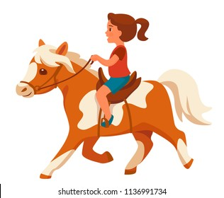 Little Girl Riding Pony Isolated On White Background Cartoon Vector Illustration