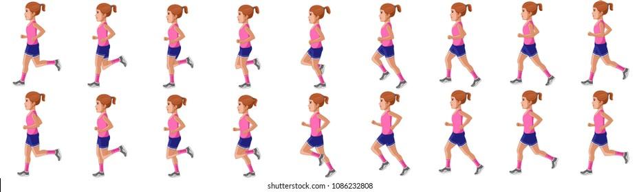 Little girl running animation sprite sheet