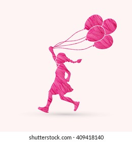 Little girl running with balloons designed using pink grunge brush graphic vector.