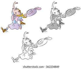 Little girl running vintage vector illustration for children