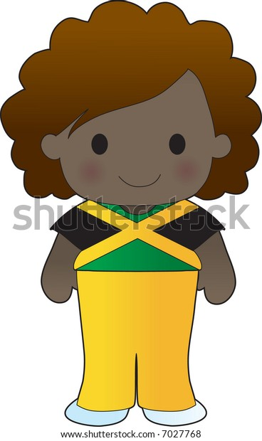 Little girl in a shirt with the Jamaican flag on it