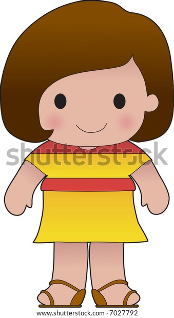 Little girl in a shirt with the Spanish flag on it
