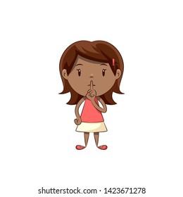 Little girl silence gesture, cute child
