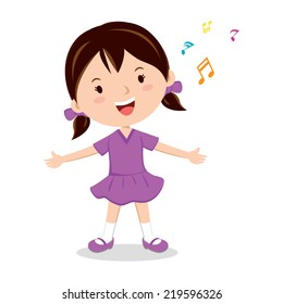 Little girl singing. Cheerful girl singing happily.