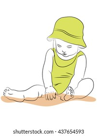 Little girl sitting with bare legs and playing with sand. Vector illustration on the theme of relaxation and child's play
