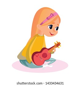 Little Girl Sitting Hold Ukulele in Hands Vector Illustration. Cartoon Hawaiian Guitar Player. Female Guitarist, Kid Music Performer, Child Musician. Concert Performance, Song Melody Play