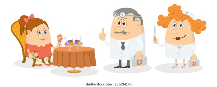 Little girl sitting near table, smiling and eating ice cream while two doctors with first aid kits strictly threaten her, warning of cold, funny cartoon characters, isolated on white background