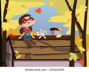 Little girl is sitting on the roof. Little superhero with the mask. Autumn mood. Cartoon girl