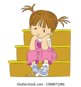 A little girl sitting on the stairs lonely, sad, upset and angry. Feelings of a baby girl
