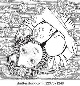 Little girl is sitting on the wooden floor. Snowing.  Snowflakes fall. Black and white doodle coloring book page for adult and children.