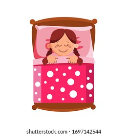 Little Girl Sleeping In Bed, Sweet Dreams Vector. Cute Character Happy Smiling Small Child Lying In Comfort Bed On Pillow And Covered With Blanket. Brunette Schoolgirl Flat Cartoon Illustration