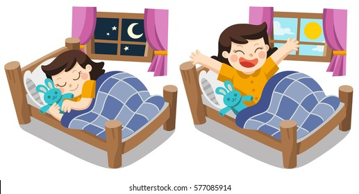 A Little girl sleeping on tonight, good night sweet dreams. and she wake up in the morning.
