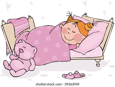 The little girl sleeps in the bed