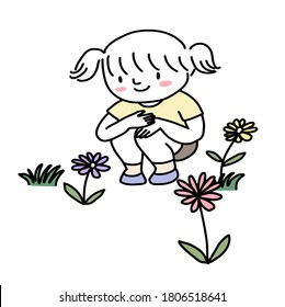 Little girl squatting in meadow and watching flowers blooming. Happy little girl in a garden. Little girl observing plants and flowers in a garden. Hand-drawn Vector.