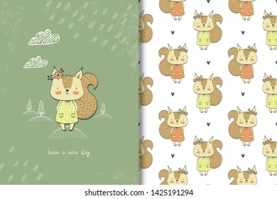 Little girl squirrel card and seamless pattern. Kids illustration