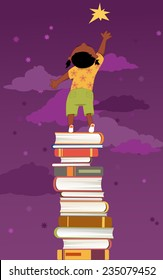 Little girl, standing on a pile of book, reaching for a star