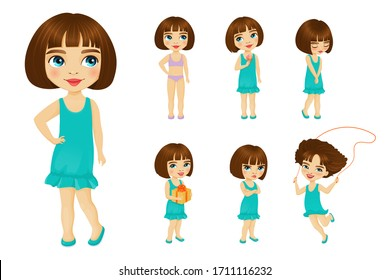 Little girl stands in similar poses with different emotions. Smiling child, in underwear or dress, jumping rope, with gift in hands, eating icecream, shyly lowered her eyes, frowns with arms crossed.