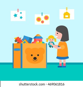 Little girl  storing toys, vector illustration. Child putting playthings  in the box
