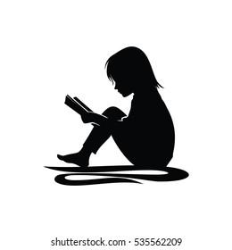 Little Girl Study Reading Book Silhouette Illustration