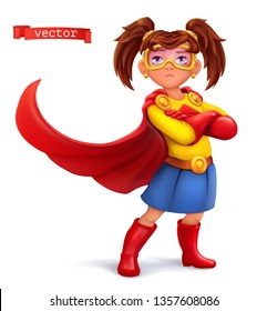 Little girl in superhero costume with red coats. Comic character, vector illustration