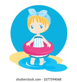 Little Girl with Swimmimg Tube
