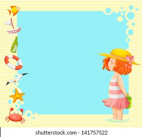 little girl and symbols of summer over background with copy space